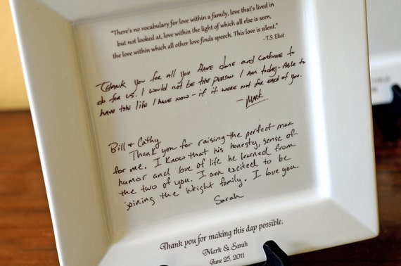 Wedding Gift From Bride And Groom To Parents : ... Letter to Parents on a Platter Wedding Gift from Bride and Groom