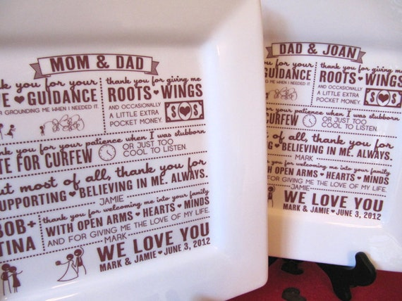 Thank You Letter For Wedding Gift: Items Similar To Parent Wedding Gift Set Of 4--Thank You