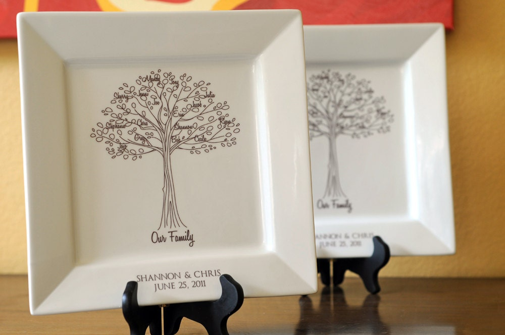 Parents Gift Wedding: Family Tree PlatterBride And Groom Wedding Gift For Parents