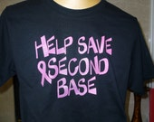 Help Save Second Base ladies Breast Cancer Awareness black t-shirt