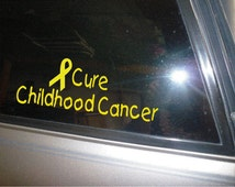 Cure Childhood Cancer yellow car decal vinyl sticker