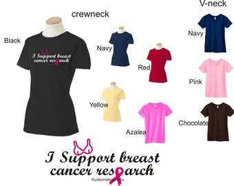 shirt Support Breast Cancer research Awareness ladies S-XL