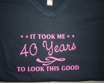 40th Birthday Shirt Ladies Style V-neck