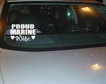 Proud Marine Wife vinyl car decal sticker NEW