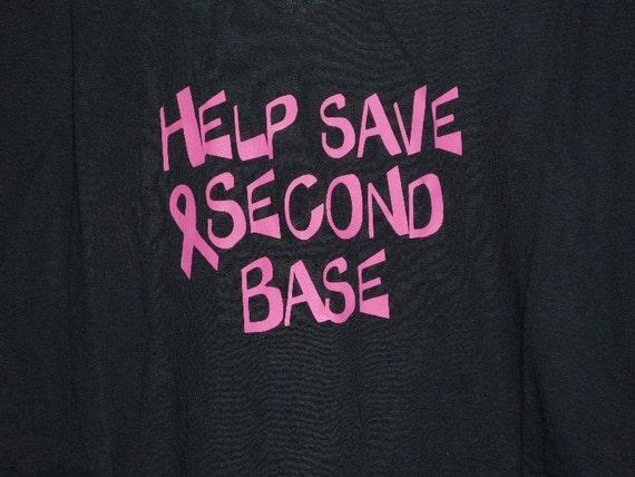 shirt Breast Cancer Awareness Help Save Second Base ladies black t-shirt