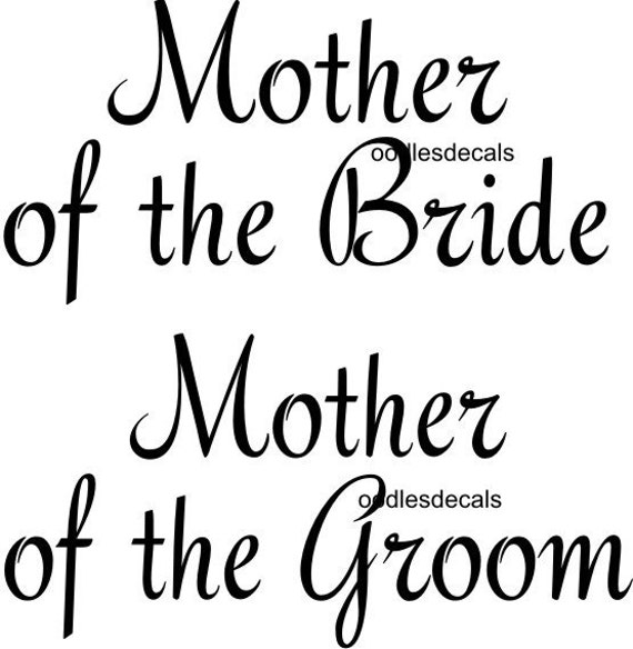 Wedding iron on shirt transfers Mother of the Bride and Groom