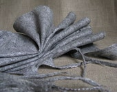 Thin wool and silk felted scarf GRAY-GRAY                 winter felt  warm women men scarves