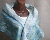 felted wool scarf ICE RIVER  blue teal green white doublefaced  multicolor women scarves