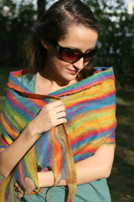 Thin wool felted scarf RAINBOW  men women