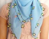 Needle Lacework Shawl And Headband, Light Blue-EtsyHolidaySale-Gift For Her Euroweek