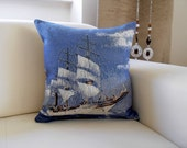 Sailing Ship Pillow Cover, Sea Blue Boat Sailor Navy Nautical Sailor
