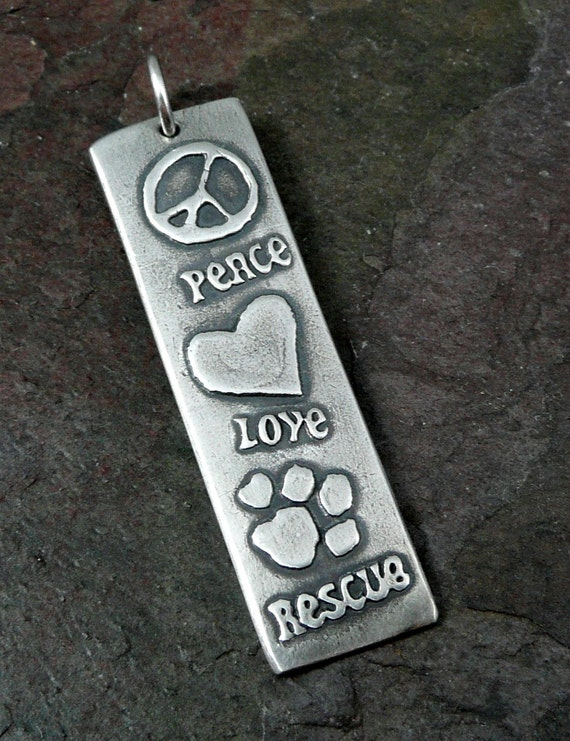 Peace, Love, Rescue Silver Pendant or Key Ring