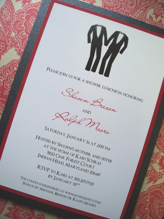 Items similar to two grooms shower invitation on etsy