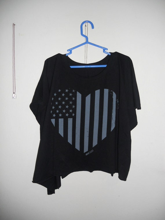 FREE SHIP american flag raw edge asymmetrical boxy T o/s