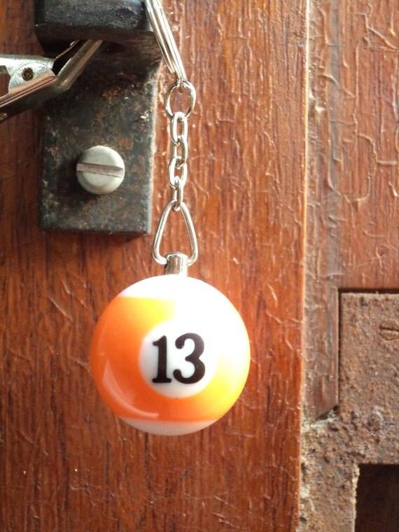 Orange 13 Pool Ball Key Chain