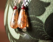 Wire-wrapped Mottled Glass Bead Earrings