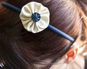 Cream Silk Shantung Yo-yo Headband with Blue Vintage Button