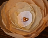 Ombré Cream/Peach Toned Chiffon Flower Brooch with Bronze Beads