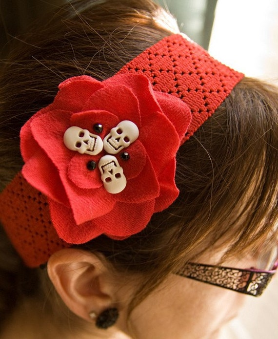 Red Flower Skull Headband with Jet Bead Accent