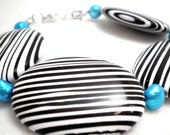 Bracelet a Black and White Statement in Stripes with Turquoise Fresh Water Pearls
