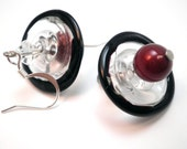 Orbital Beaded Earrings - Sparkly swarovski crystal, clear and black lampwork bead and blood red glass pearl