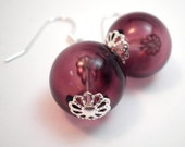 Dramatic Earrings - Translucent Amethyst Purple Hollow Glass Orbs with Silver Filigree Accents