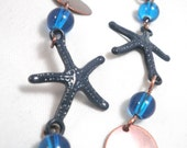 Copper Earrings - Turquoise Blue Starfish Dangles