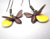Charm Earrings Brass Bee - Accented by Lemon Yellow Epoxy Marquise Candy Drops