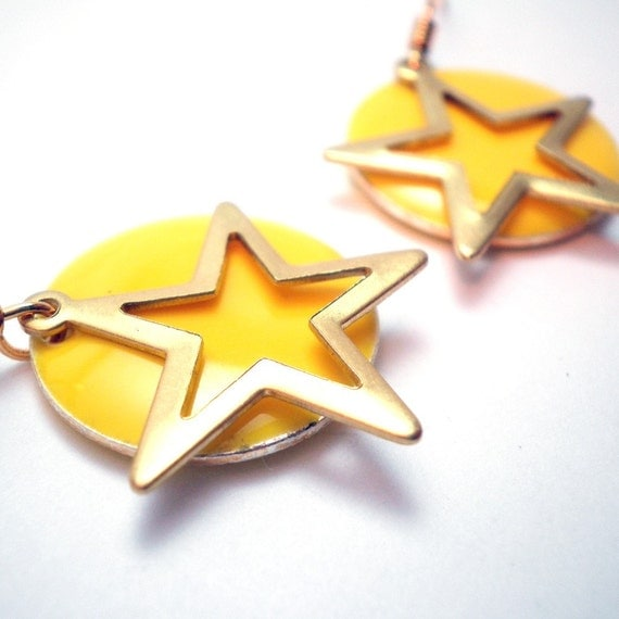 Earrings - Lemon Yellow Circular Candy Drop Beads Accented with a Golden Star Charm