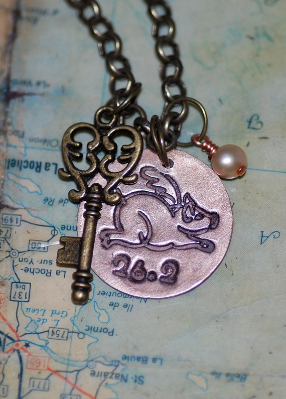 Flying Pig Marathon (26.2) in Bronze with Heart Key and Pearl