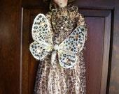 Handmade Primitive Doll Leona Leopard- Glitter Leopard Butterfly