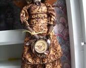 Handmade Primitive Angel Doll  Pottery Bird Plate Girl
