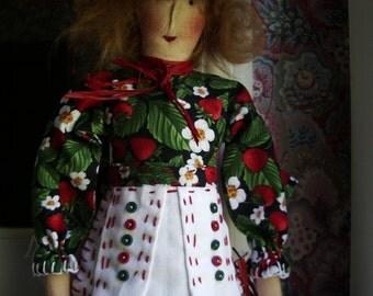 Handmade Primitive Doll SUSIE STRAWBERRY