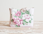 Floral Cosmetic Pouch in patchwork style vintage fabric