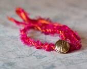 Pink and Orange Rope Bracelet in Sari Silk with Vintage Button Closure