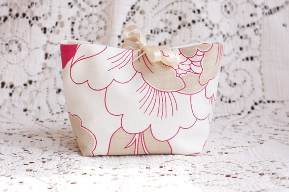 Floral Cosmetic Pouch in Raspberry and Oatmeal