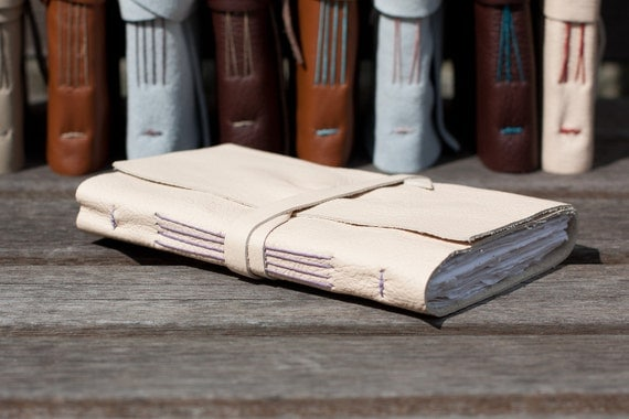 Leather Sketchbook or Journal in Cream and Lavender