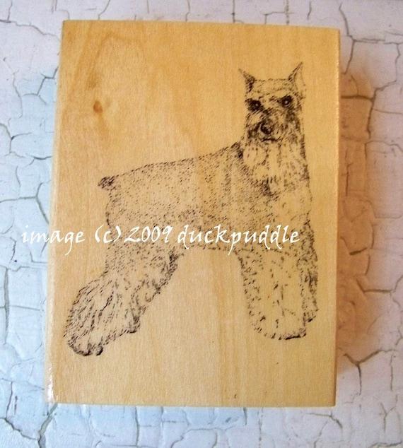new, unused stamp, maple wood, mounted rubber stamp, SCHNAUZER, new rubberstamp, DESTASH, dog, stamping, k9