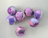 Set of 7 Purple Polymer Clay Beads
