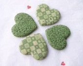 Magnets - Set of 4 Green Handmade Polymer Clay Heart Magnets