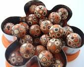 Set of 12 Handmade Chocolate Brown Polymer Clay Retro Beads