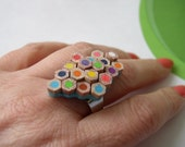 Ring - Extraordinary Pencil Slice Polymer Clay Ring