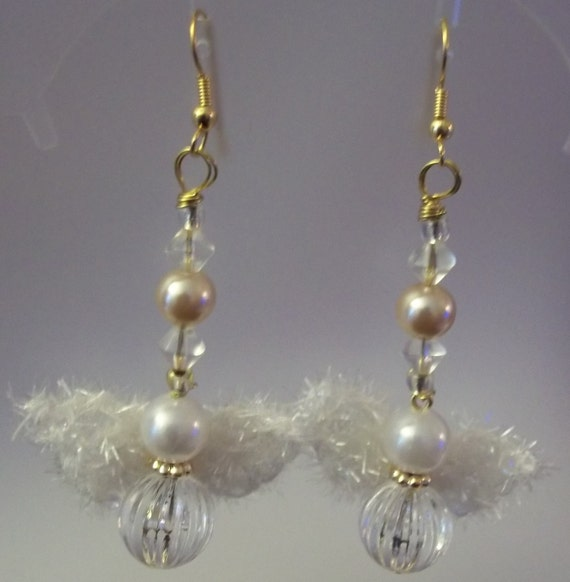 Fuzzy Winged  Angel and Pearl Dangle Earrings