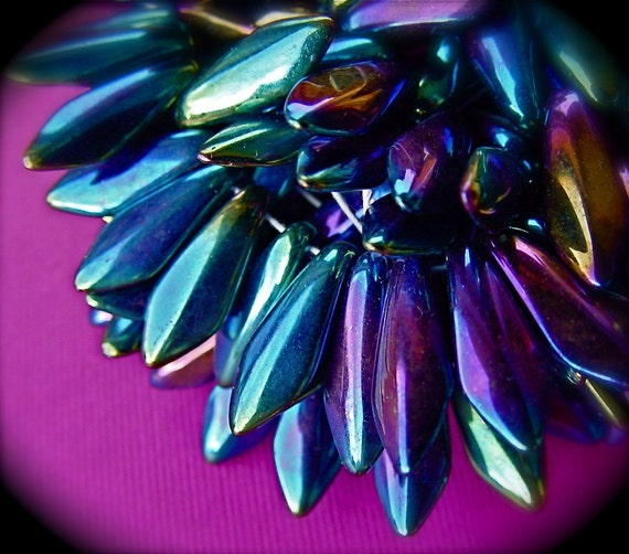iridescent purple blue glass dagger beads