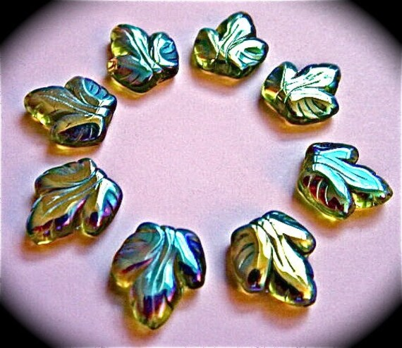 Iridescent very rare green glass leaves