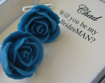 Ask Bridesman, bestman gift. Set cufflinks rose flower. CHOOSE colour.