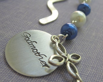Godmother metal bookmark, handstamped charm, cross charm. Communion gift. Choose another color.