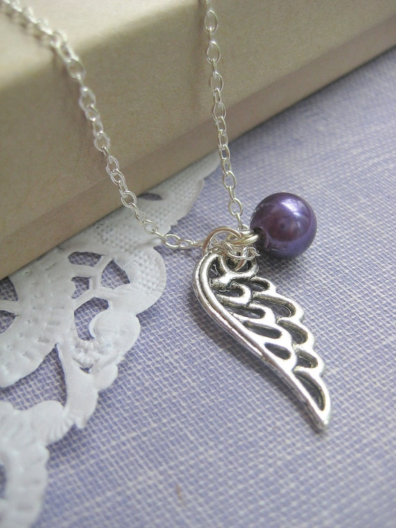 Miscarriage, infant, pregnancy loss, remembrance necklace. Single angel wing glass pearl birthmonth. CHOOSE your month.
