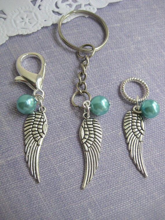 Angel wing purse charm keychain glass pearl. Choose ONE. Choose your month.