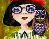 Wise As Her Owl PaInting PrinT